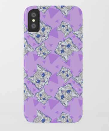 Kitten pattern, purple and gray
