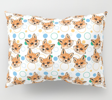 baby fox pattern- orange, blue and teal