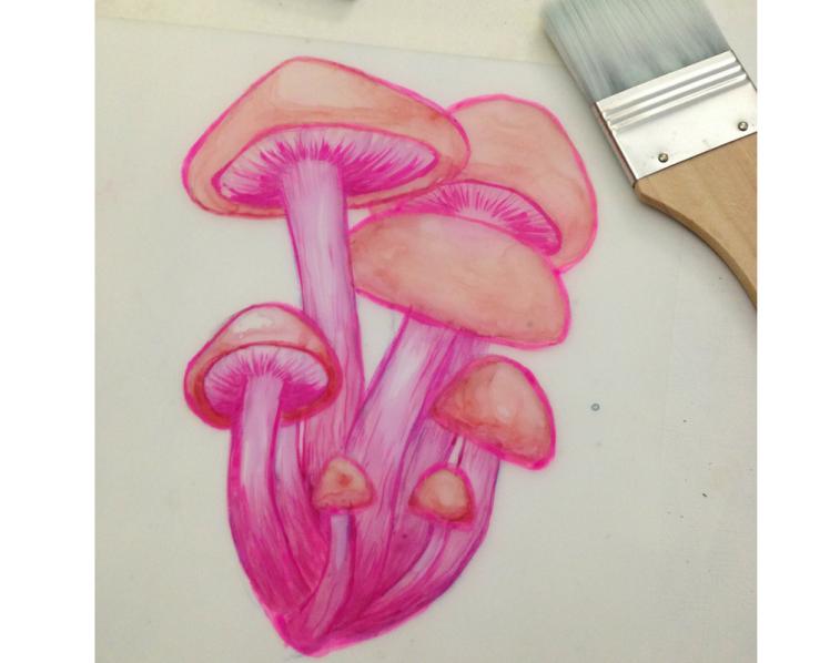 experimental mushroom gouache study on duralar