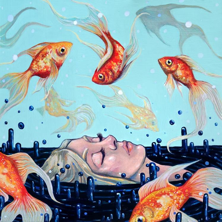 Slumber, acrylic on wood panel, copyright by Megan Frauenhoffer