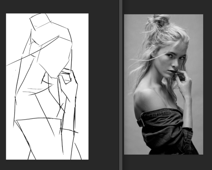 One Week Portrait blocking in sketch