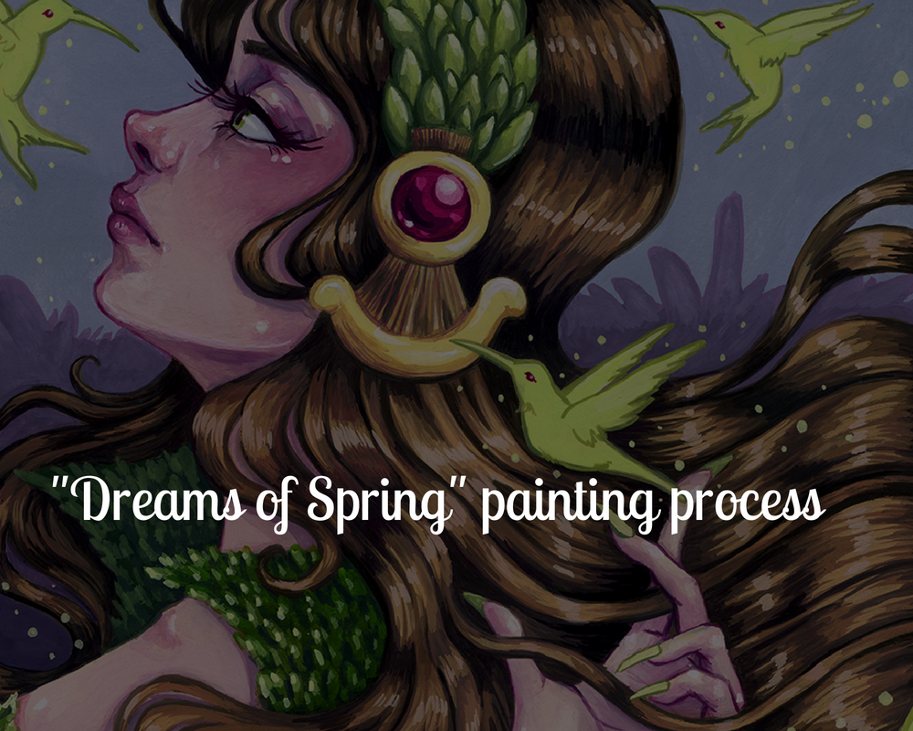 Dreams of Spring gouache painting by megan frauenhoffer