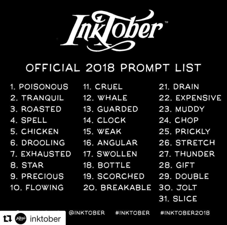 Inktober 2018 official prompt list