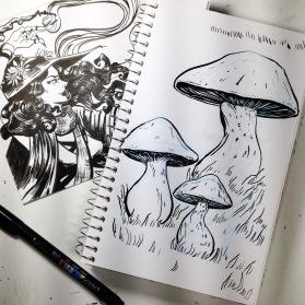 inktober - spell (also mushrooms)