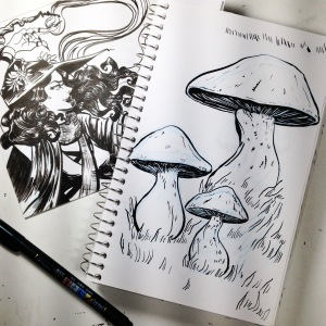 inktober - spell (also mushrooms)