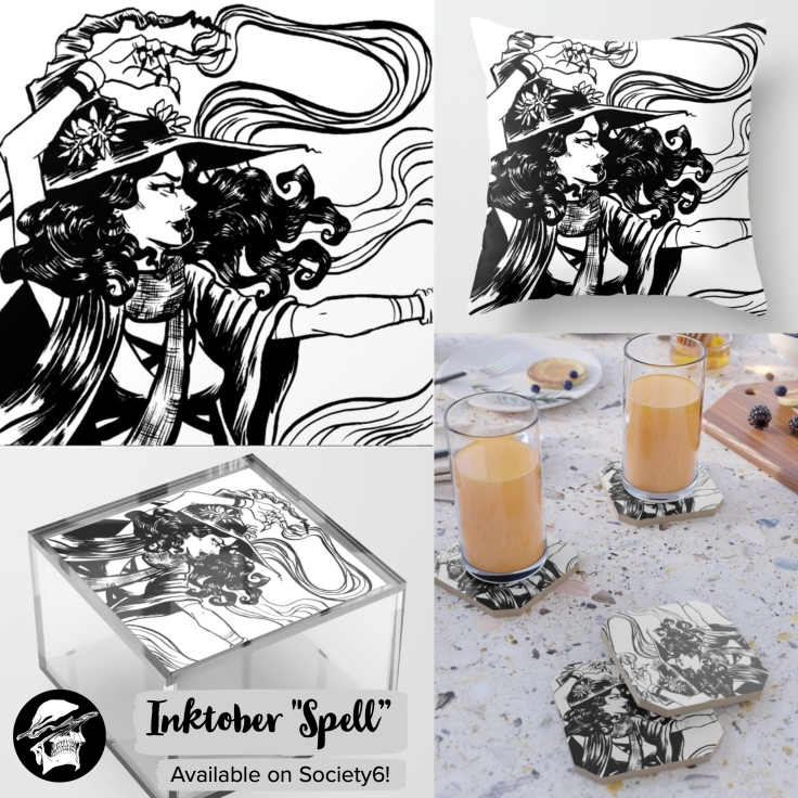 "Society6 graphic inktober ""spell"" products"