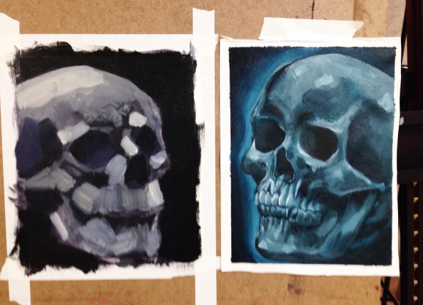 Oil Painting skull - monochrome and complimentary