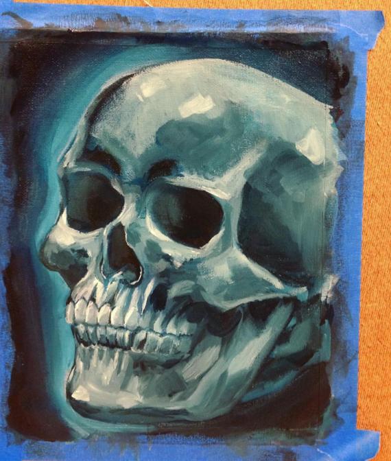 Oil Painting skull - monochrome