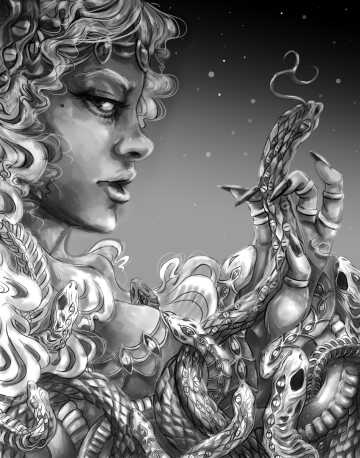 Venus show artwork Megan Frauenhoffer-grayscale drawing