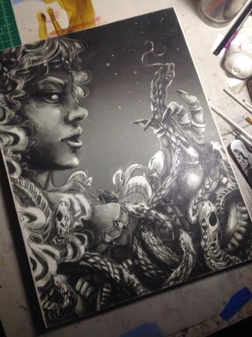 Venus show artwork Megan Frauenhoffer-underpainting
