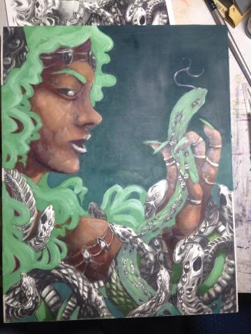 Venus show artwork Megan Frauenhoffer-oil painting first pass