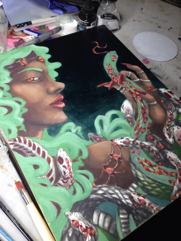 Venus show artwork Megan Frauenhoffer-oil painting second pass