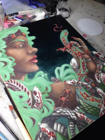 Venus show artwork Megan Frauenhoffer-oil painting second pass