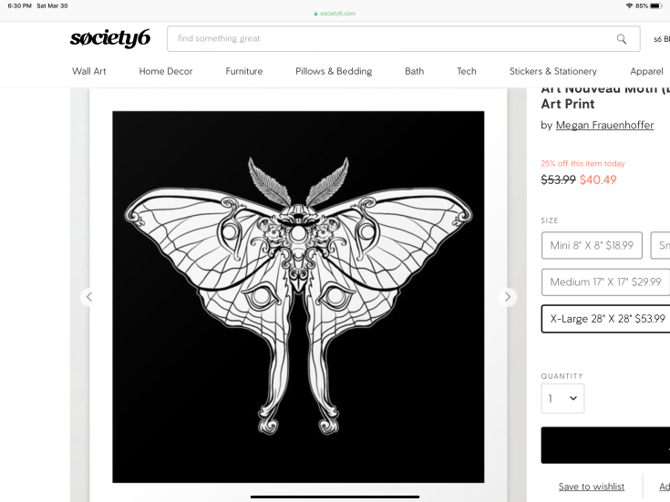 Art Nouveau Moth art print on Society6
