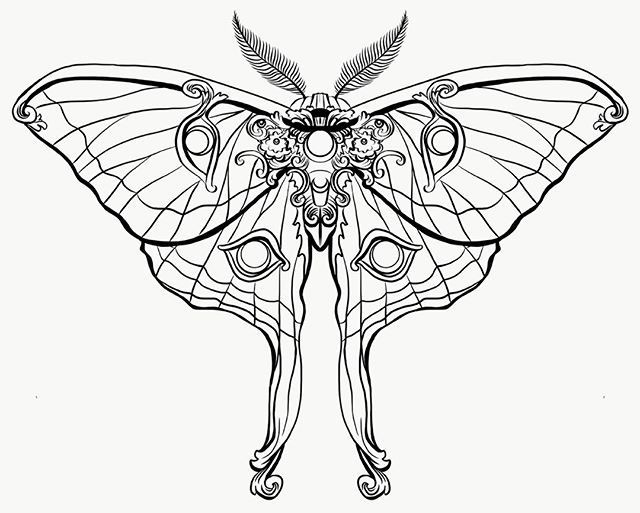 Finished art nouveau moth design